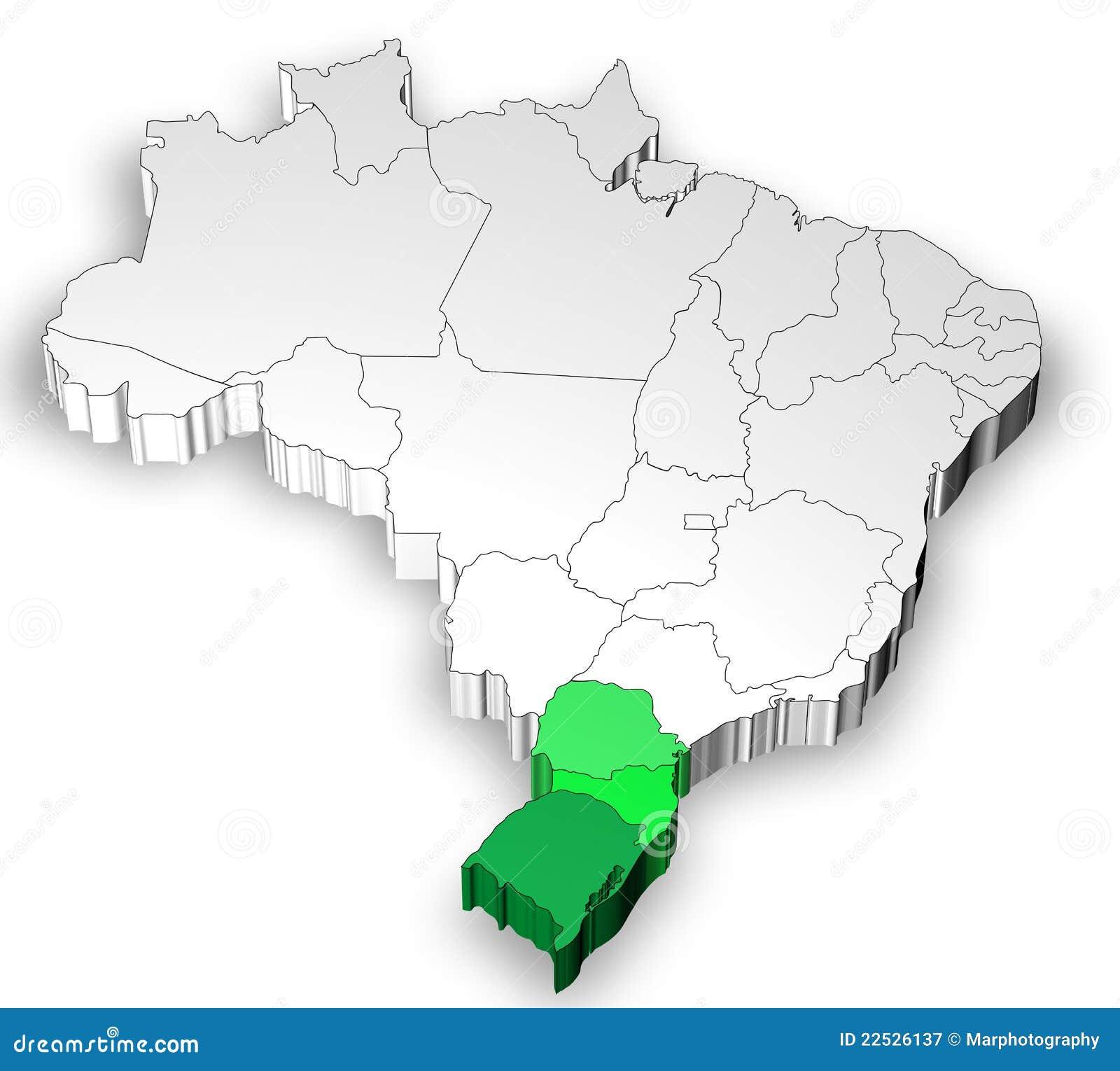 Programma tridimensionale del Brasile con la regione del sud