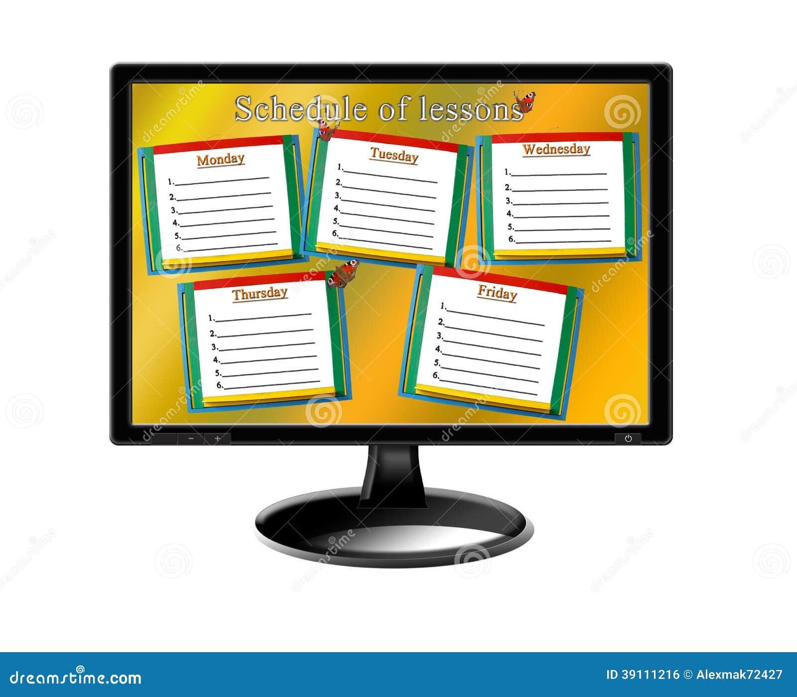 Programma van lessen voor een week op de monitor