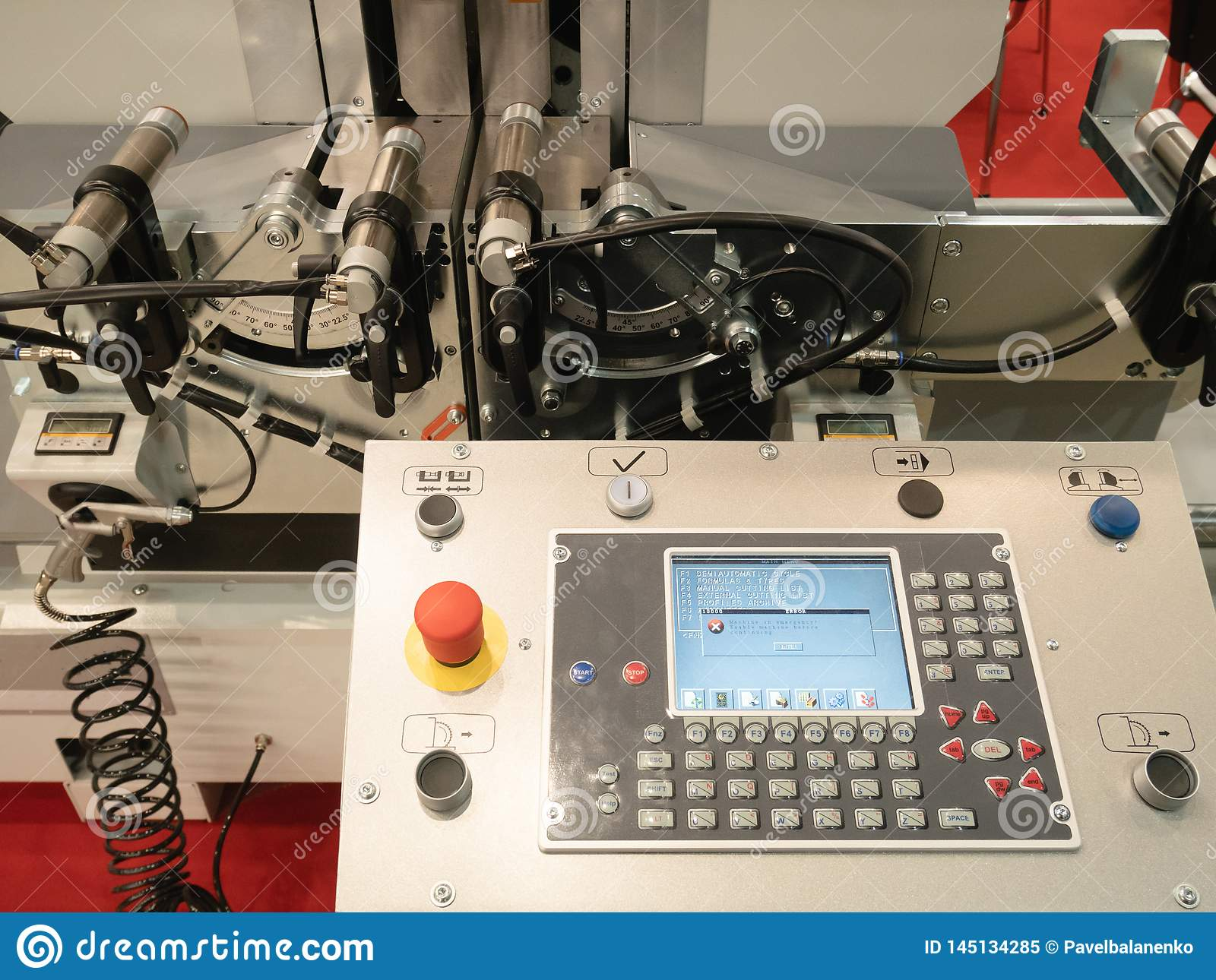 Programmable remote control CNC milling rolling machine with digital computer. industrial equipment at factory, plant, facility