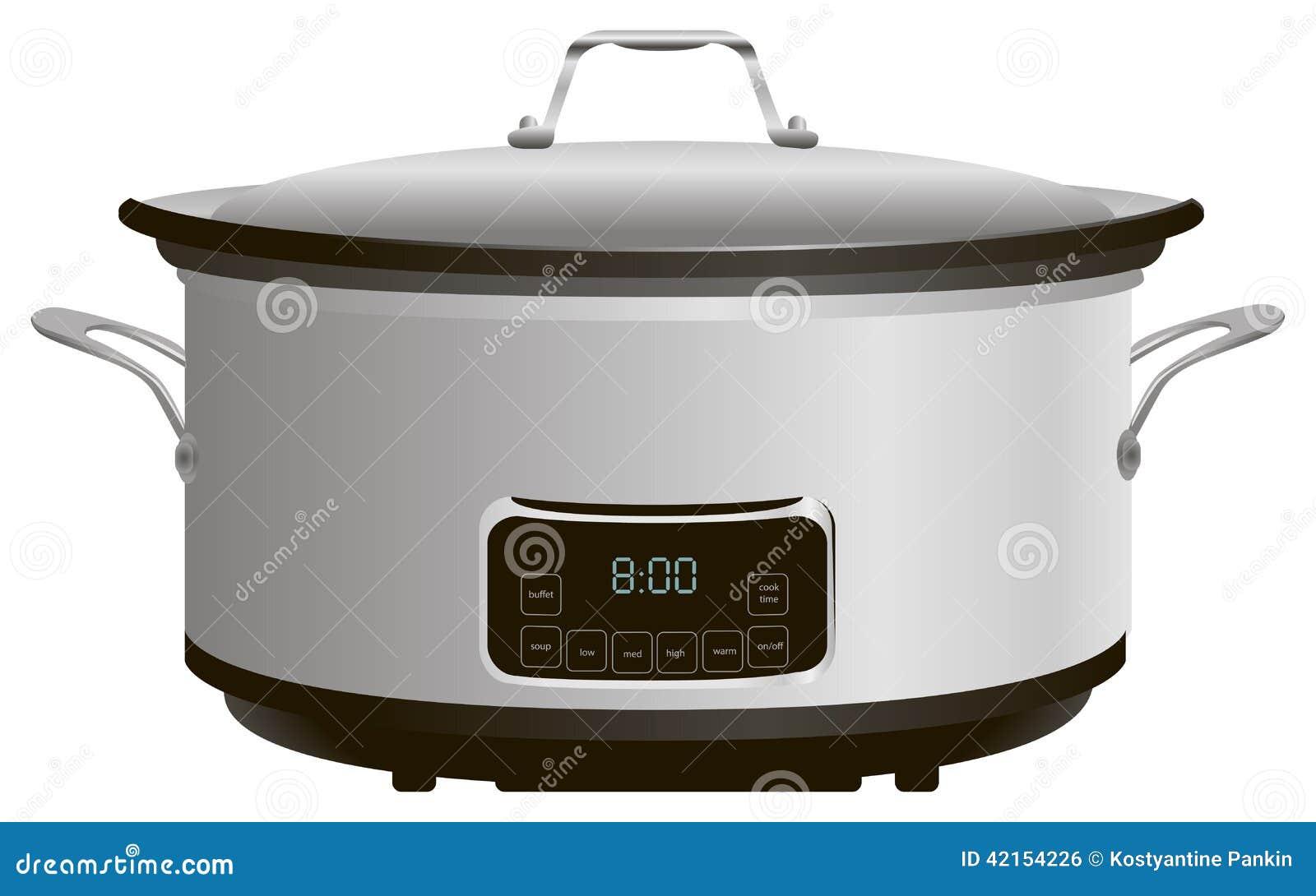 Cartoon Electric Cooker ~ Programmable slow cooker stock vector image