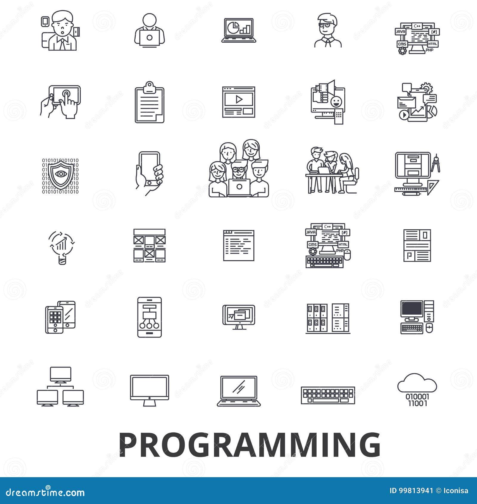 Programmant, programmeur, code, ordinateur, logiciel, développement, ligne icônes d application Courses Editable Conception plate