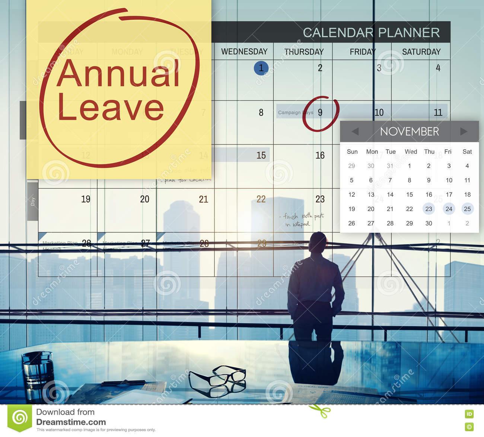 Programme de congé annuel prévoyant de faire le concept de liste