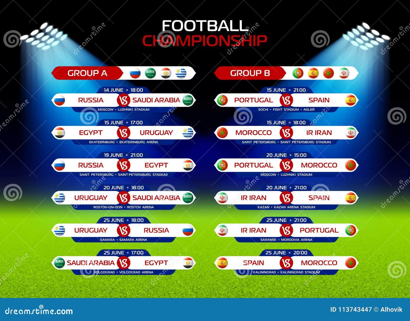 Programme De Match De Championnat Du Football En Russie 2018