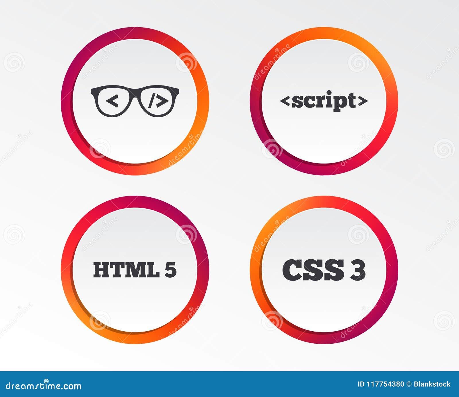 Programmer Coder Glasses  HTML Markup Language  Stock Vector