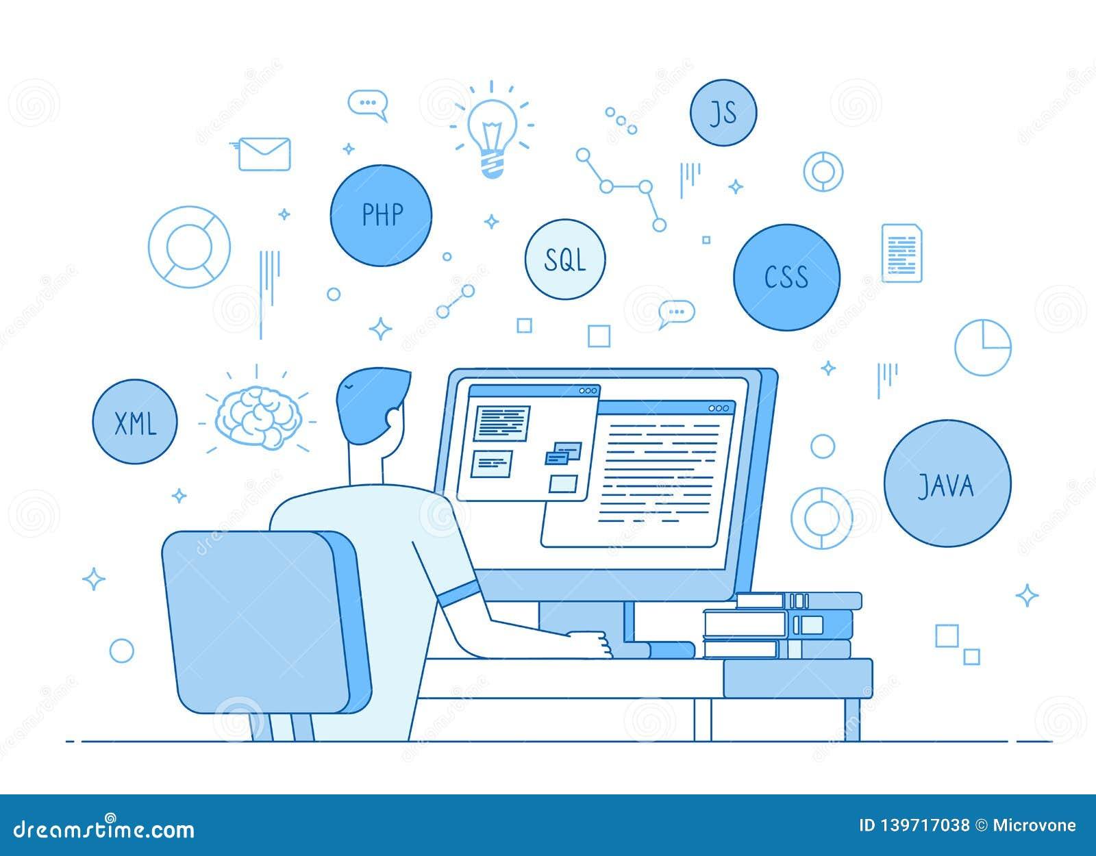 Programmer Coding Website Coder Web Designer Works On Javascript Php Code Programming Language Software Development Stock Vector Illustration Of Graphic Application 139717038