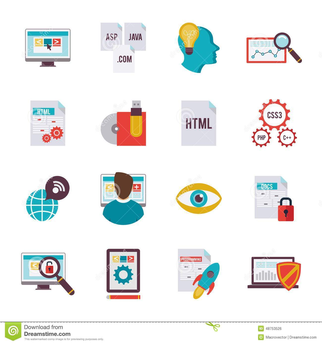 Programmer Icon Flat Stock Vector Image 48753526