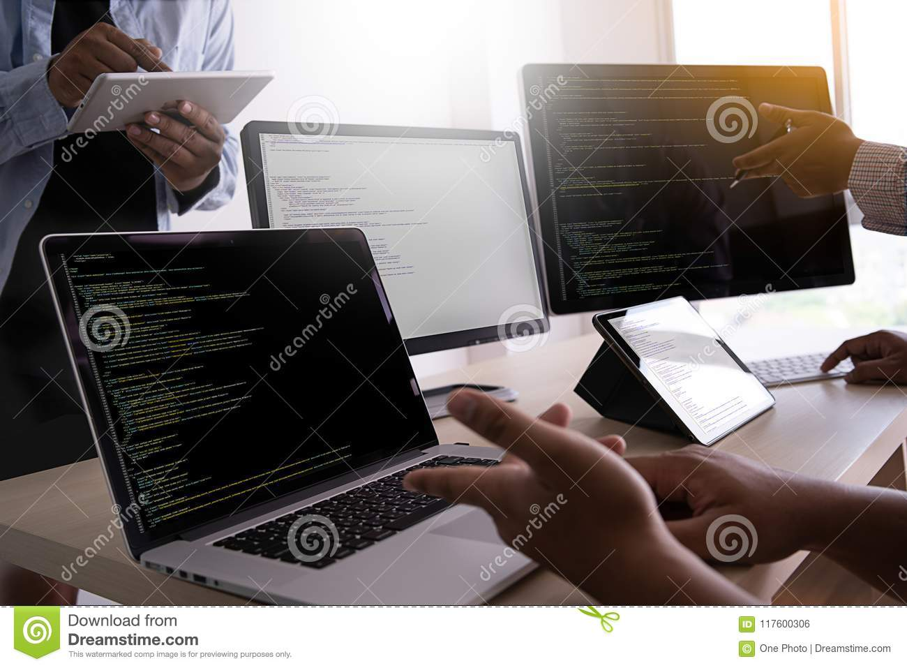 Programmer working Developing programming technologies Web Design Online Technology