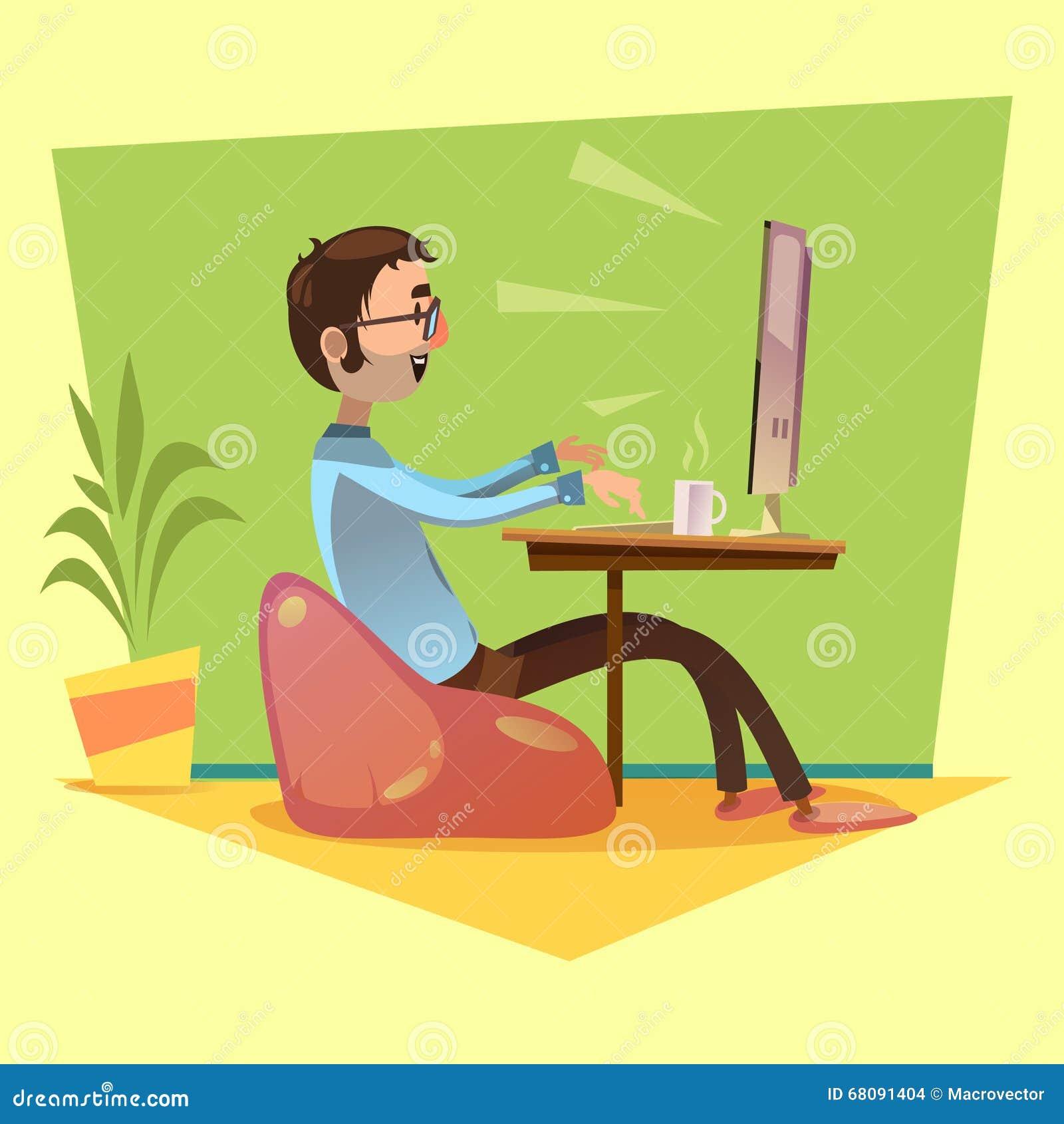 cartoon programmer working behind the computer stock image 77862319. Black Bedroom Furniture Sets. Home Design Ideas