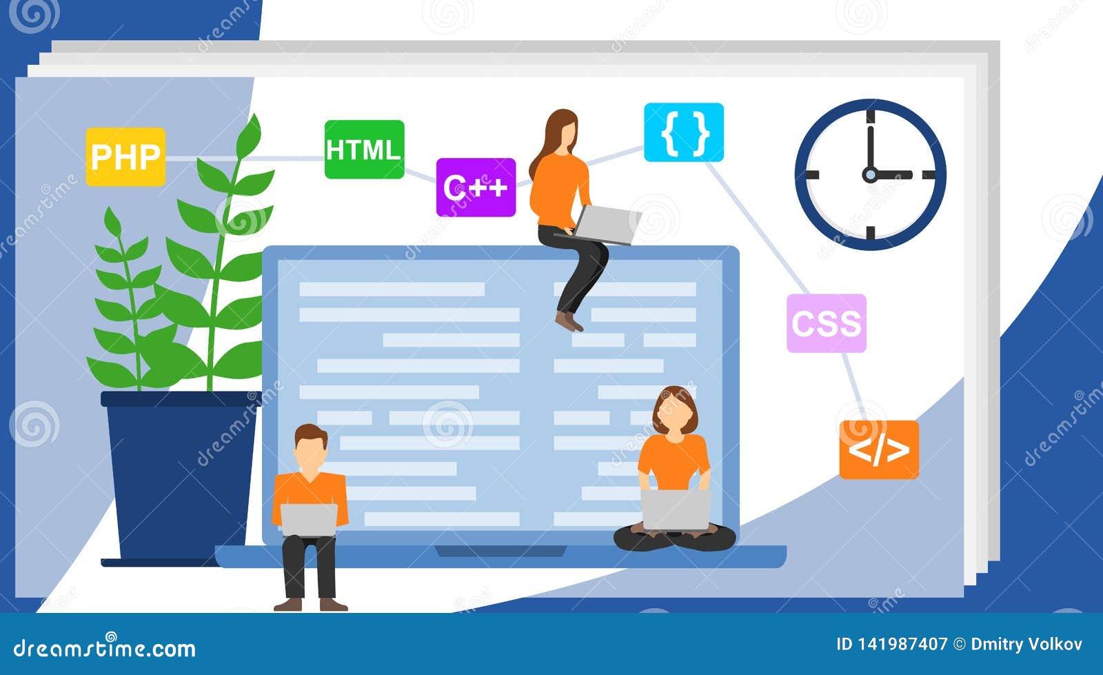Programmerare- och teknikutvecklingsillustration Programmerare på arbetsbegreppet kan använda för rengöringsdukbaner