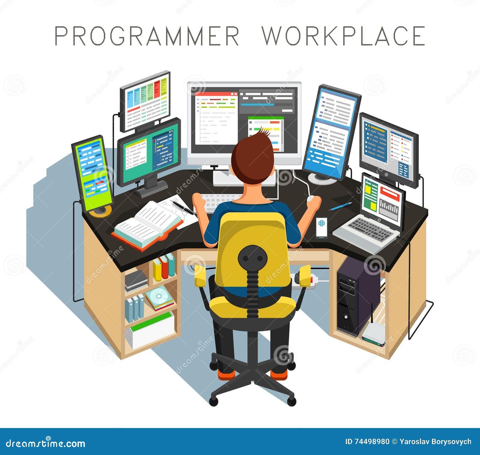 Programmeraren skriver kod också vektor för coreldrawillustration
