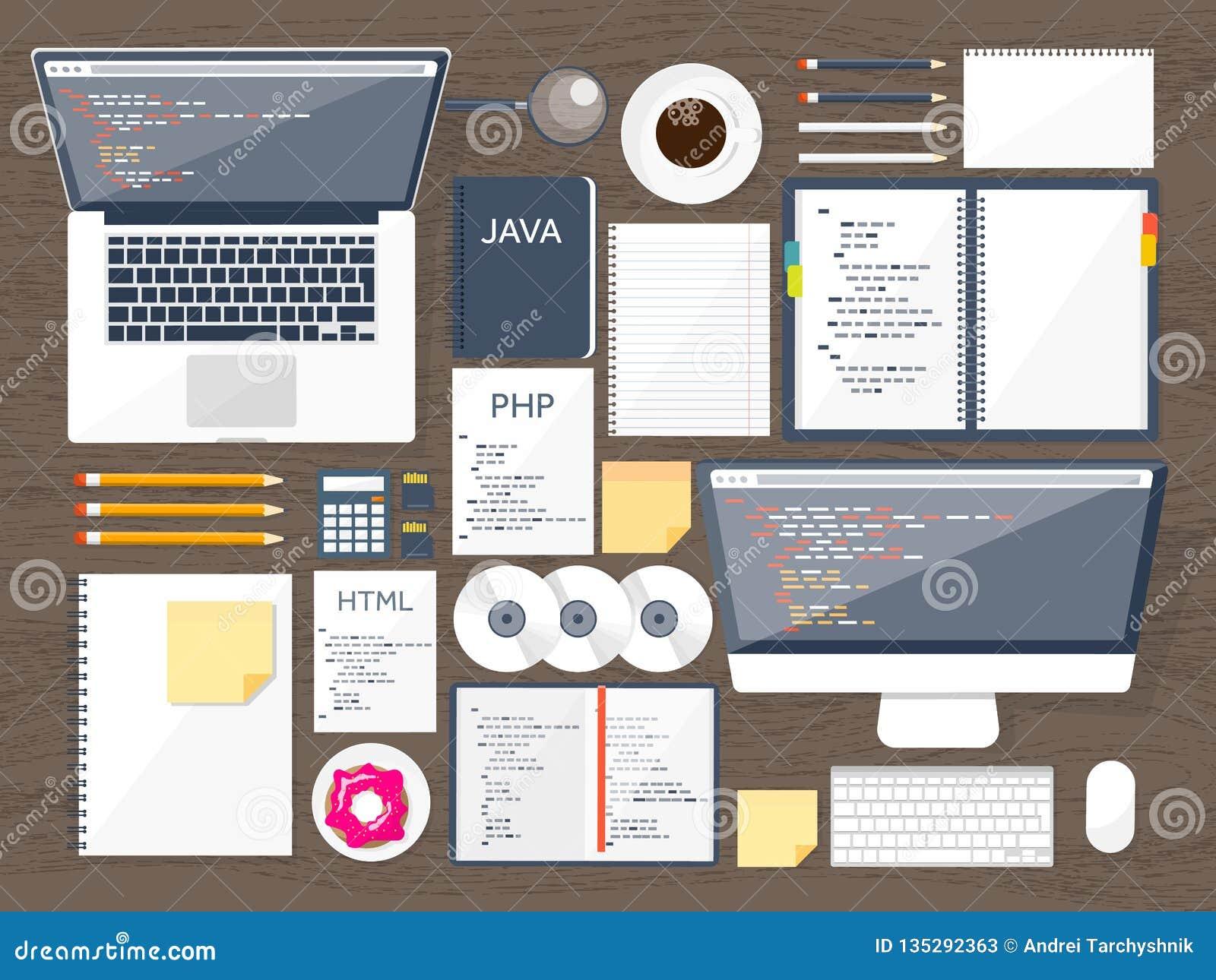 Programmering, het coderen Vlakke gegevensverwerkingsachtergrond Code, hardware, software Webontwikkeling De motoroptimalisering