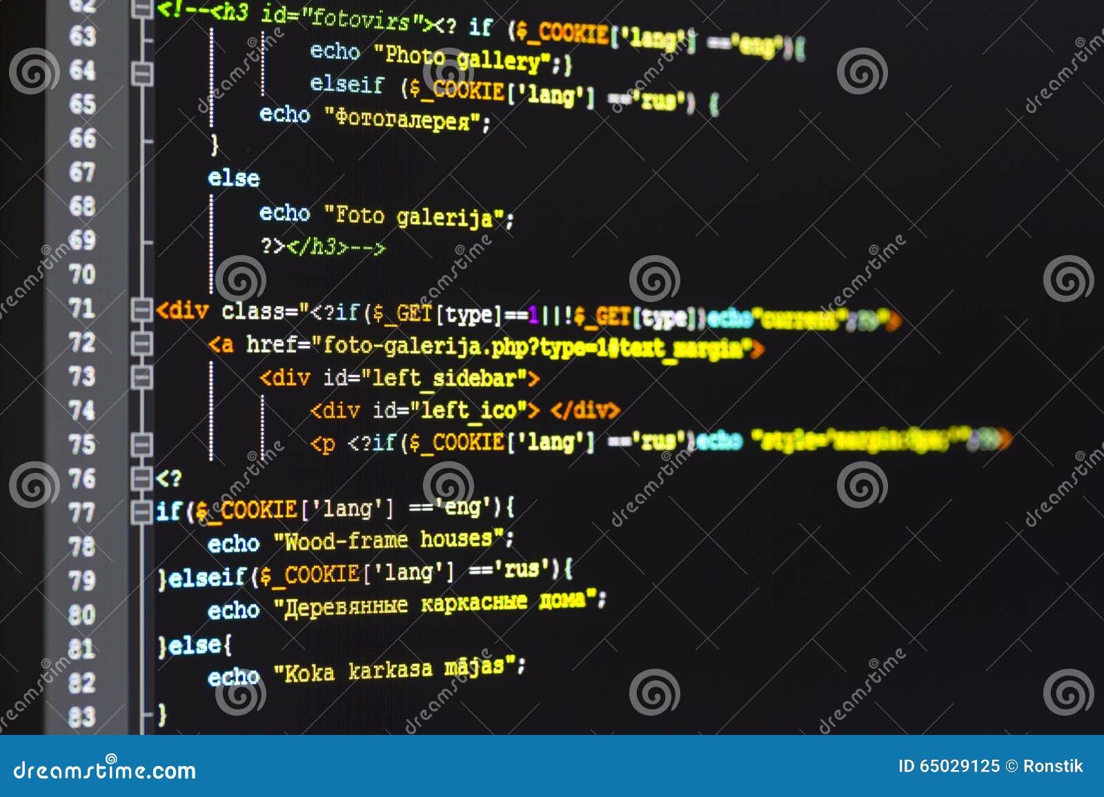 Programmeringscode inzake het computerscherm