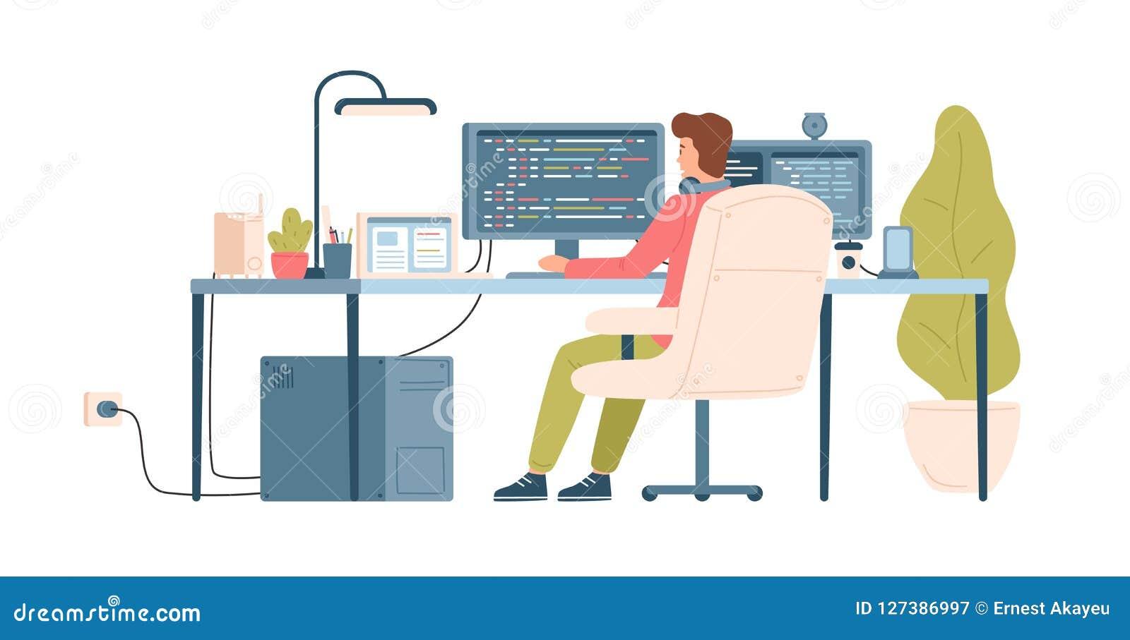 Programmeur, codeur, Webontwikkelaar of van de softwareingenieur zitting bij bureau en het werken aan computer of programmering w