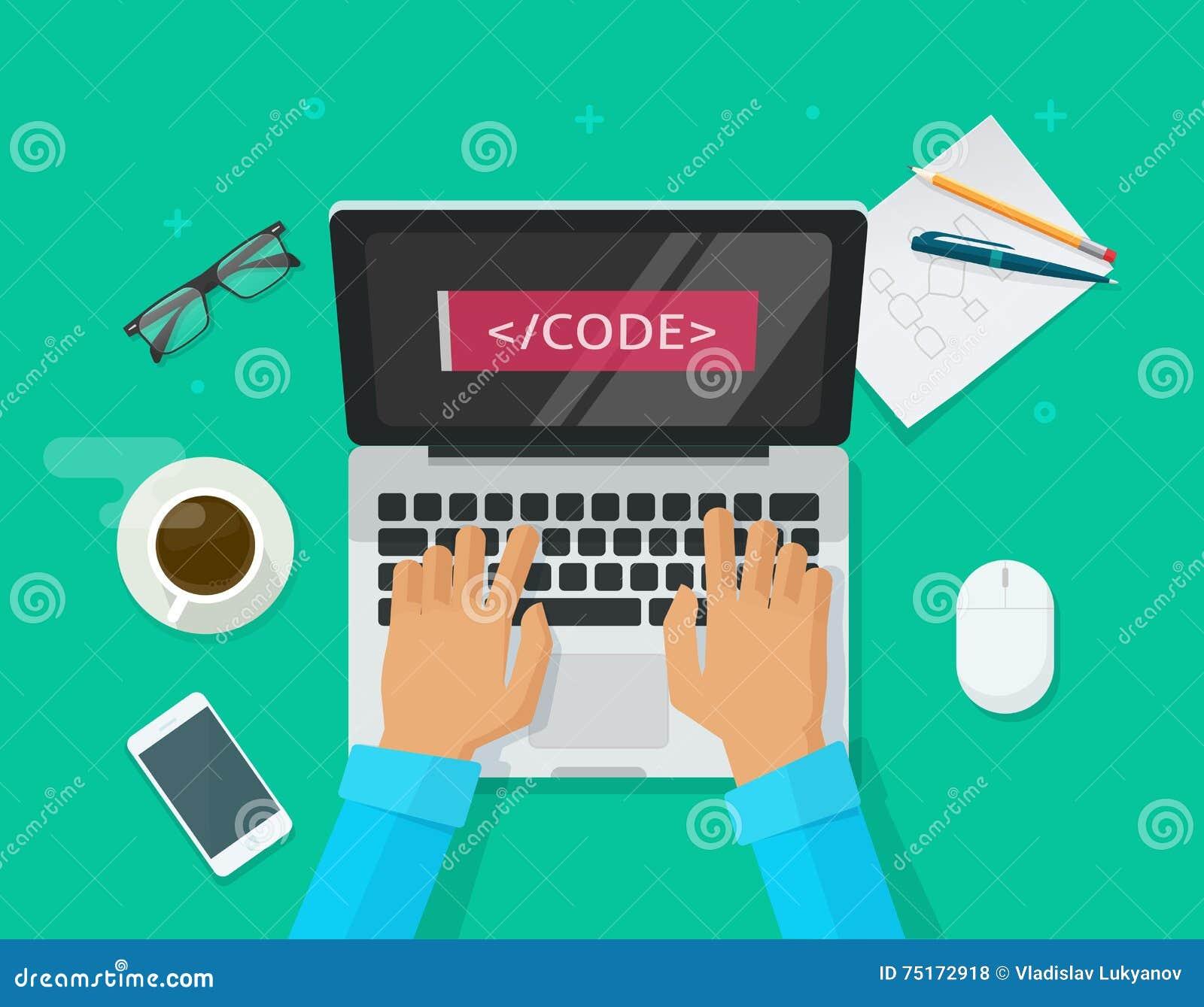 Programmiererkodierung, Laptop-Computer, Arbeitsschreibtisch, Freiberufler, der auf Tabelle sitzt