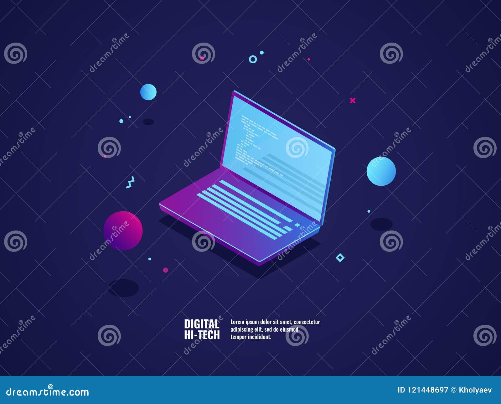 Programmierung der Anwendung und des Softwareentwicklungskonzeptes, Laptop mit Programmcode auf Schirm, Vektorillustration