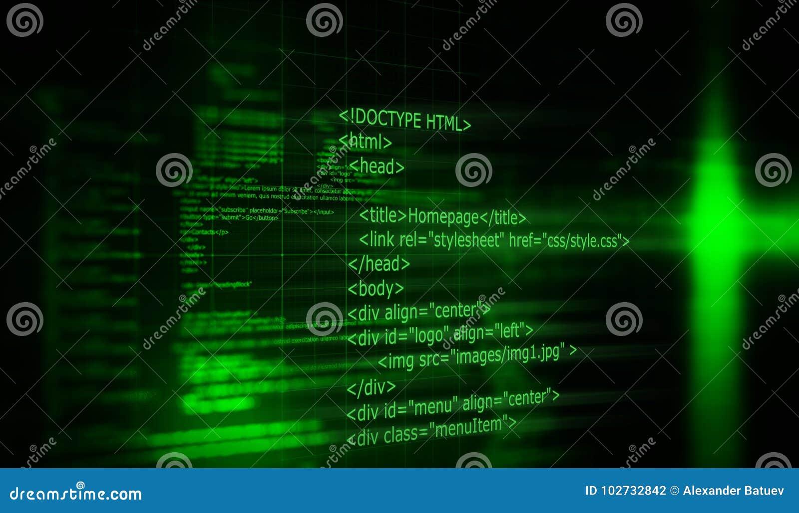 HTML Code Programming Software Background  3D Render Stock