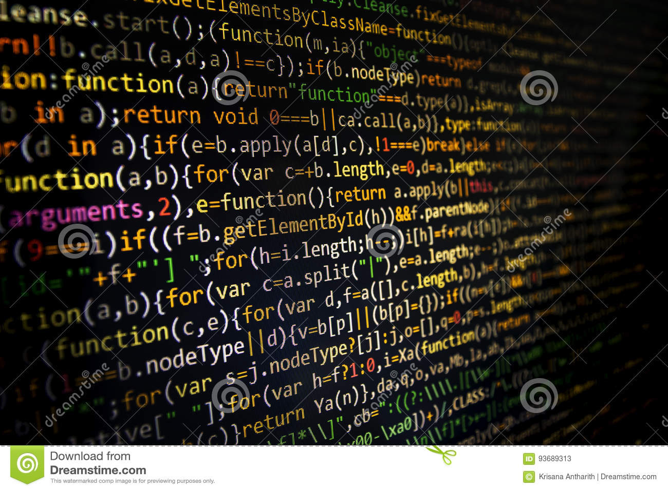 Programming Code Screen Of Software Developer. Computer ...