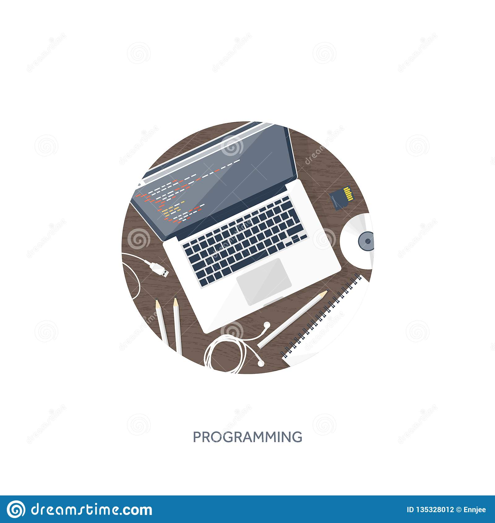 Programming coding and SEO. Flat computing background. Code hardware,software. Web development. Search engine