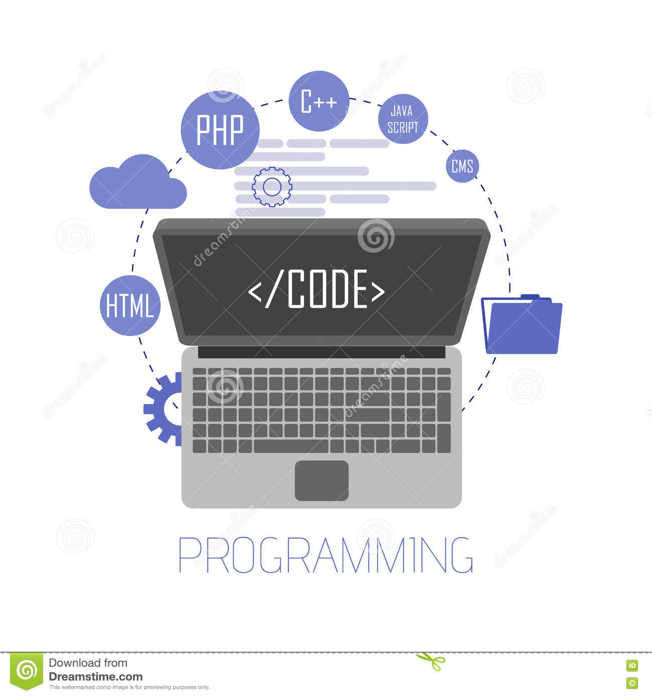 Programming And Coding, Website Development, Web Design  Flat Stock