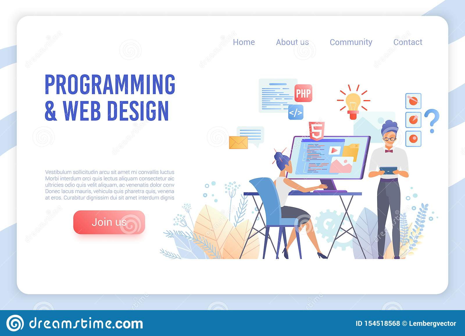 Programming And Web Design Flat Vector Landing Page Template Stock Vector Illustration Of Programming Designer 154518568