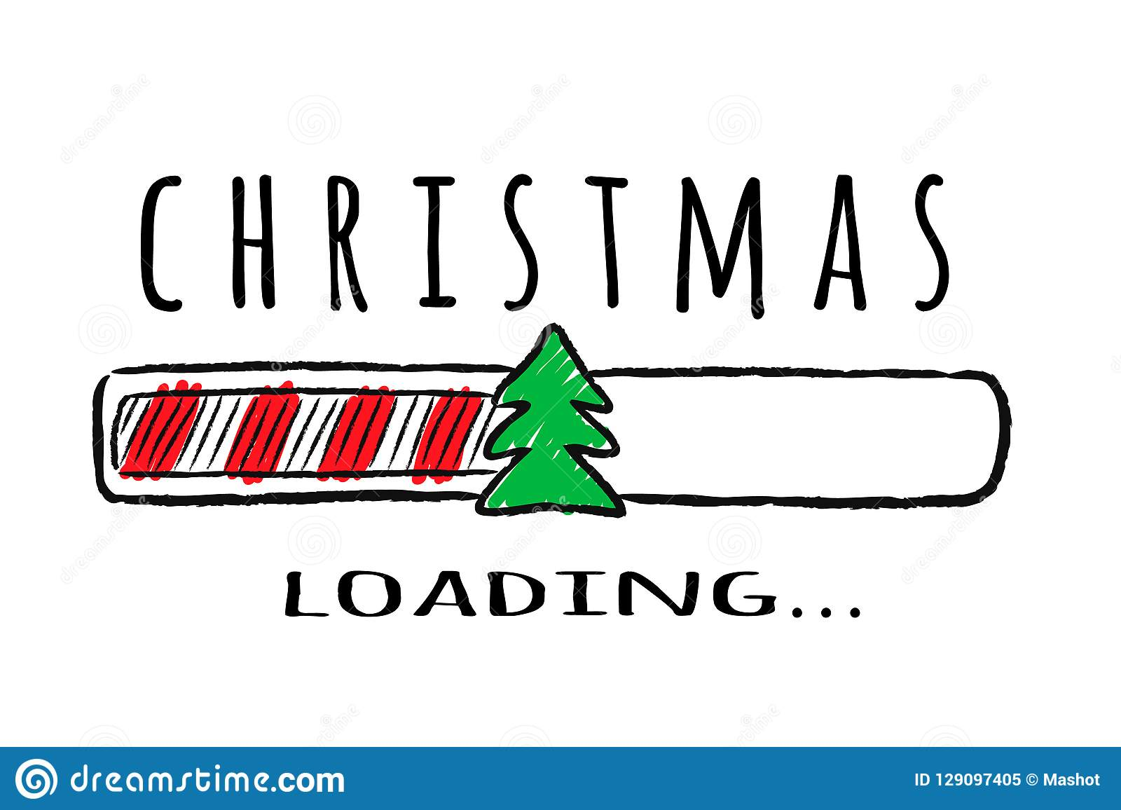 Progress bar with inscription - Christmas loading and fir-tree in sketchy style.