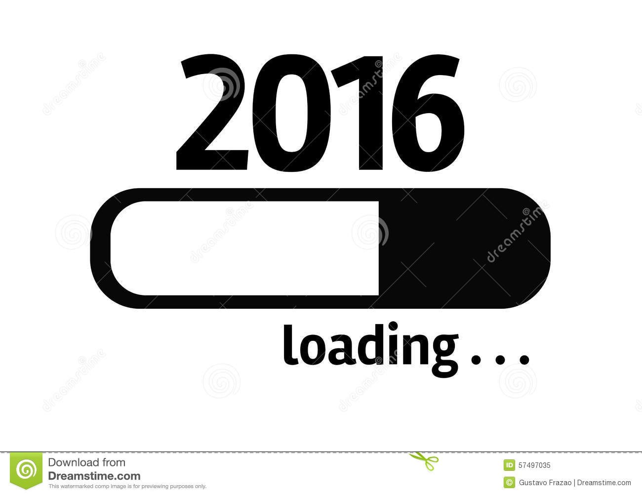 Progress Bar Loading With The Text: 2016 Stock Photo - Image: 57497035