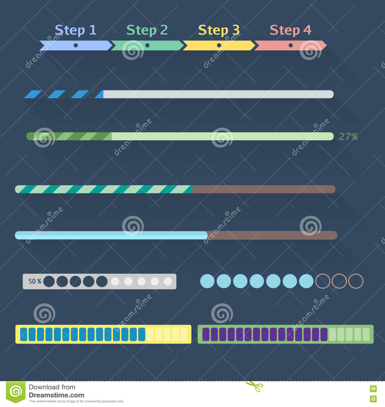 Progress Bars Set stock vector  Illustration of collection