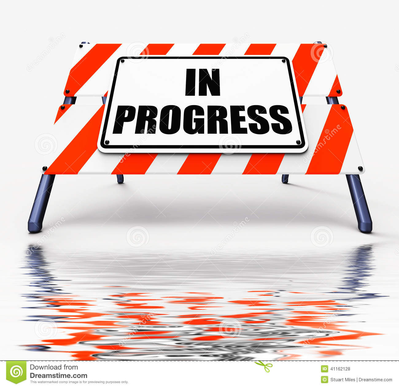 In Progress Sign Displays Ongoing Or Happening Now Stock Illustration ...