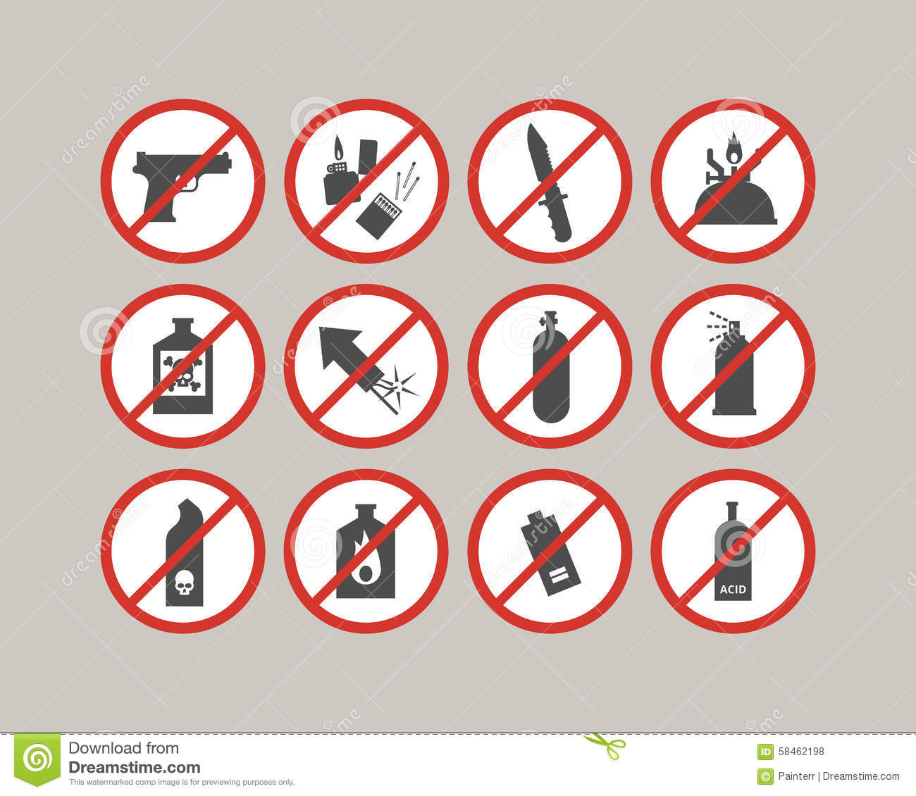 Prohibited luggage items. Airport restrictions. Dangerous stuff for ...