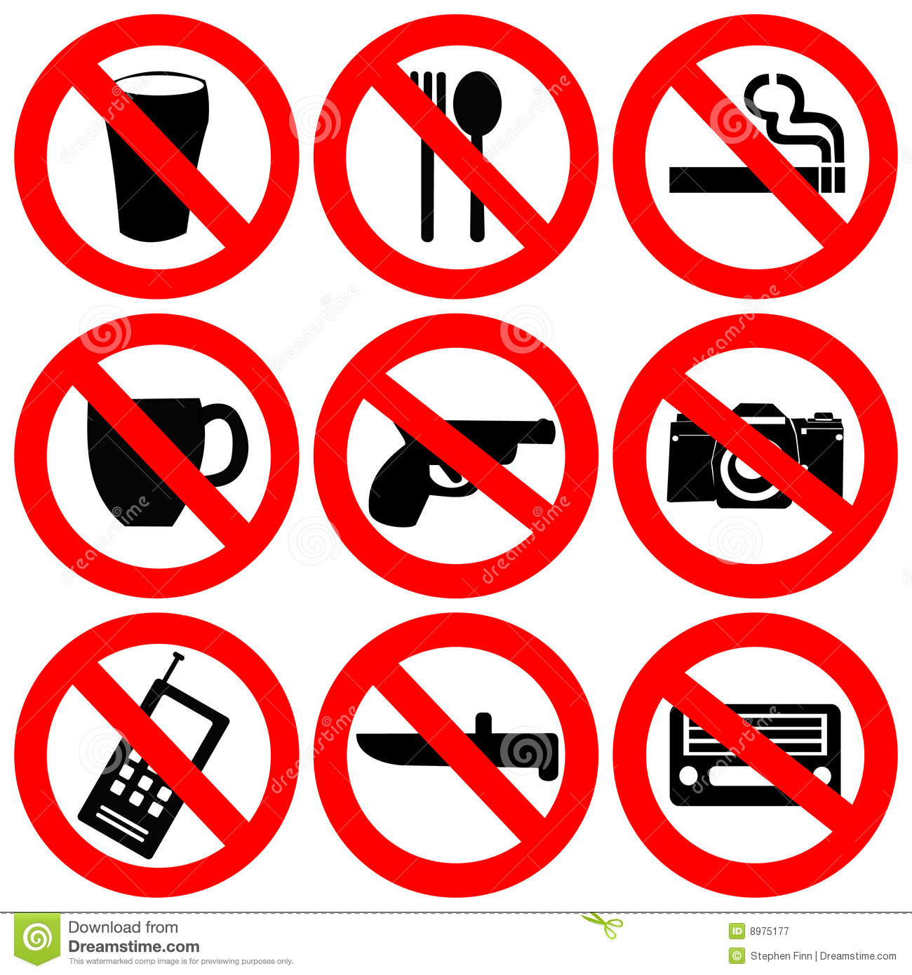 Prohibited Signs Illustration Stock Vector Image 8975177