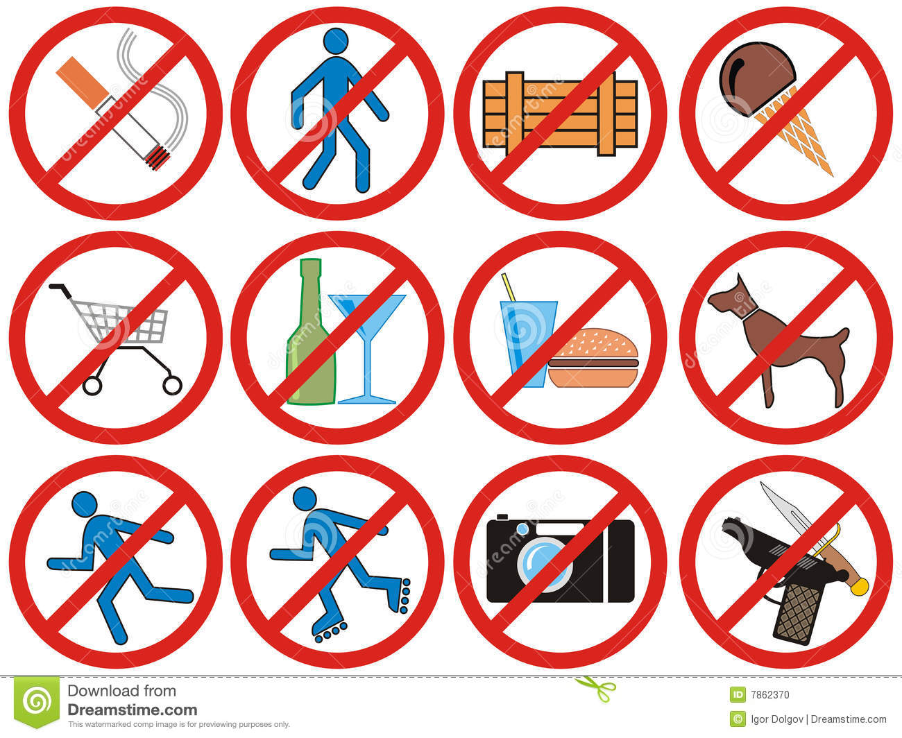 Prohibiting Signs Vector Stock Photo Image 7862370