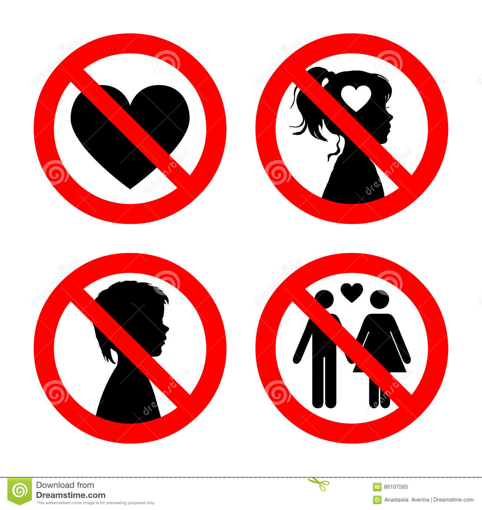 Prohibition sign icons collection set of vector illustration on prohibition sign icons collection set of vector illustration on white red forbidden circle no love no girls buycottarizona