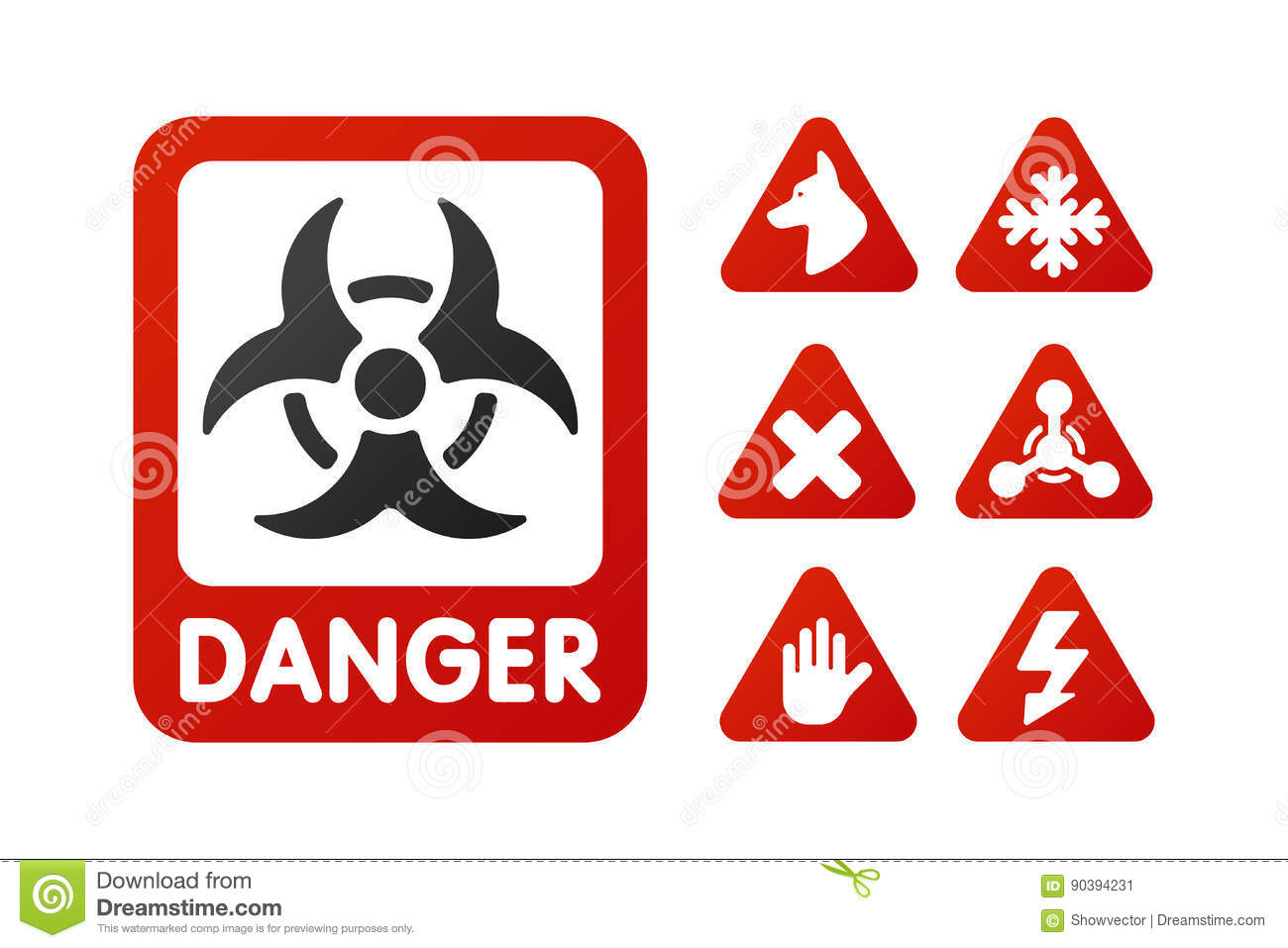 Prohibition signs set industry production vector yellow red warning danger symbol forbidden safety information and