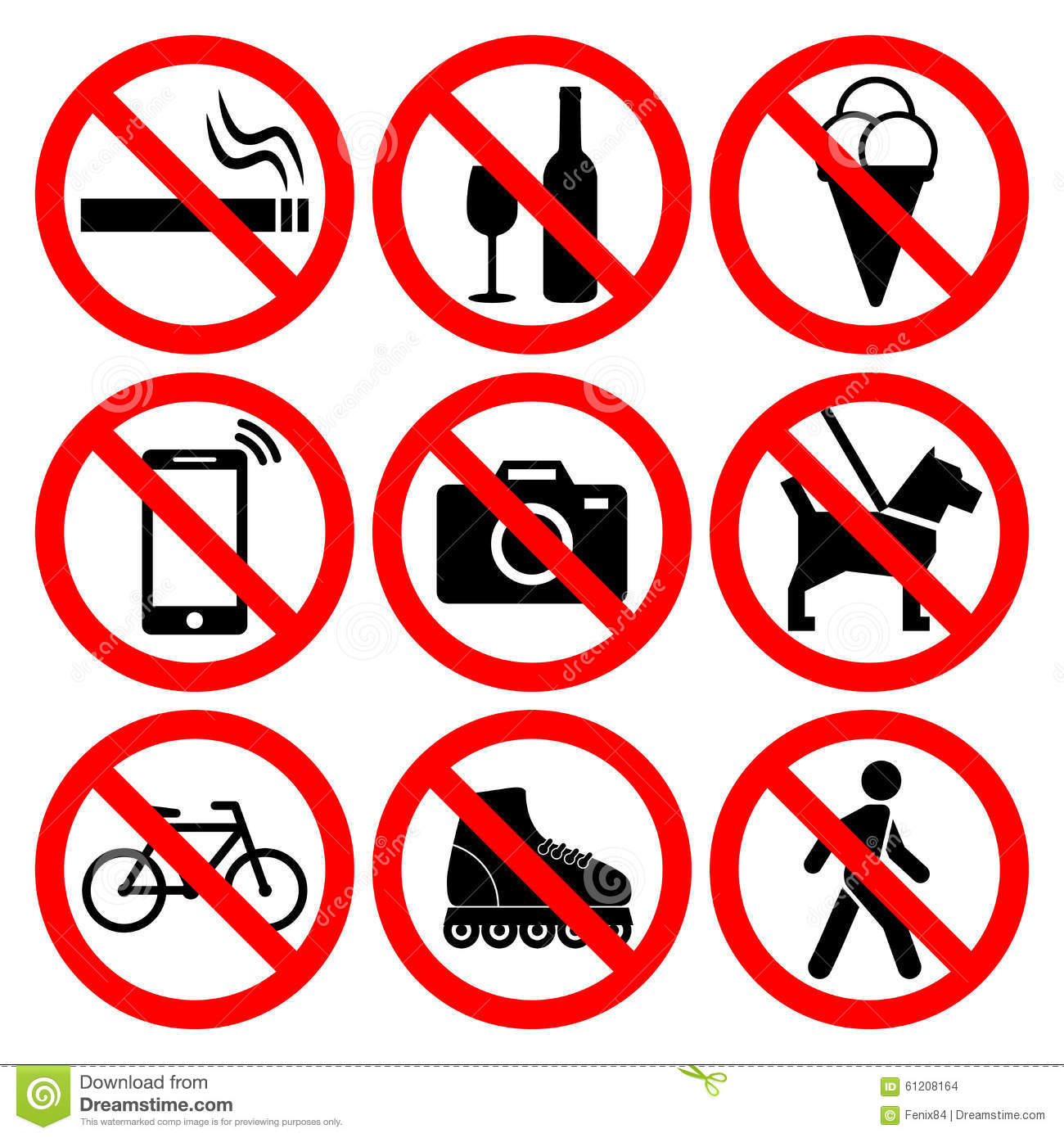 Prohibition symbols set stock vector illustration of forbid 61208164 prohibition symbols set biocorpaavc Image collections