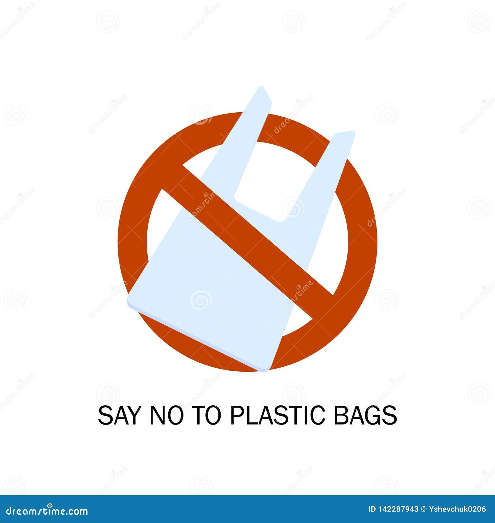 Proibição dos sacos de plástico Problema da poluição Protecção ambiental Diga NÃO aos sacos de plástico Ilustração do vetor