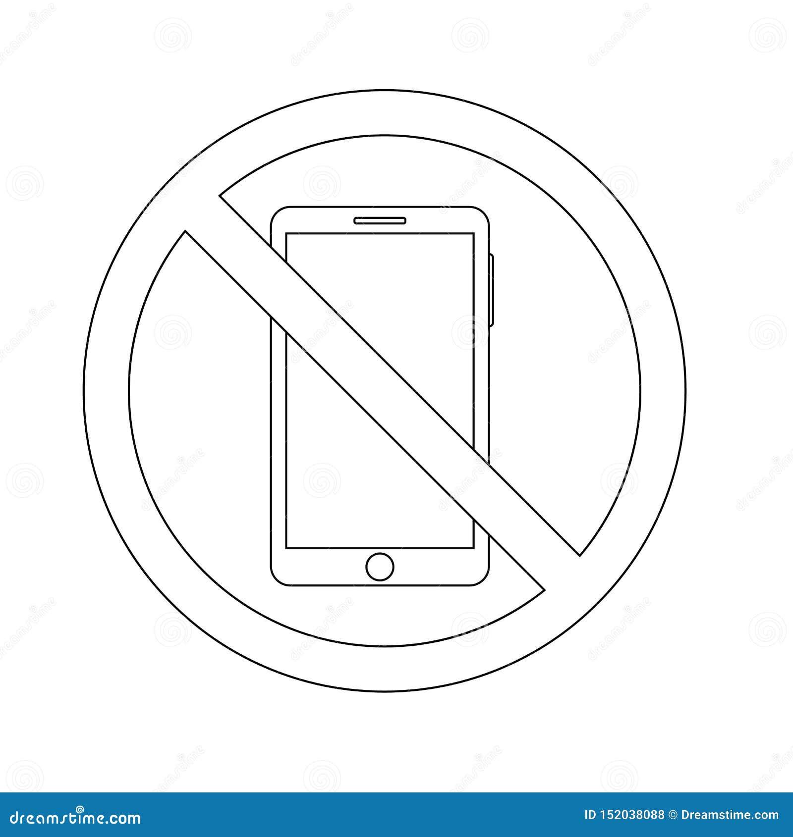 Proibizione dell icona del profilo di per mezzo di uno smartphone vettore di concetto del telefono