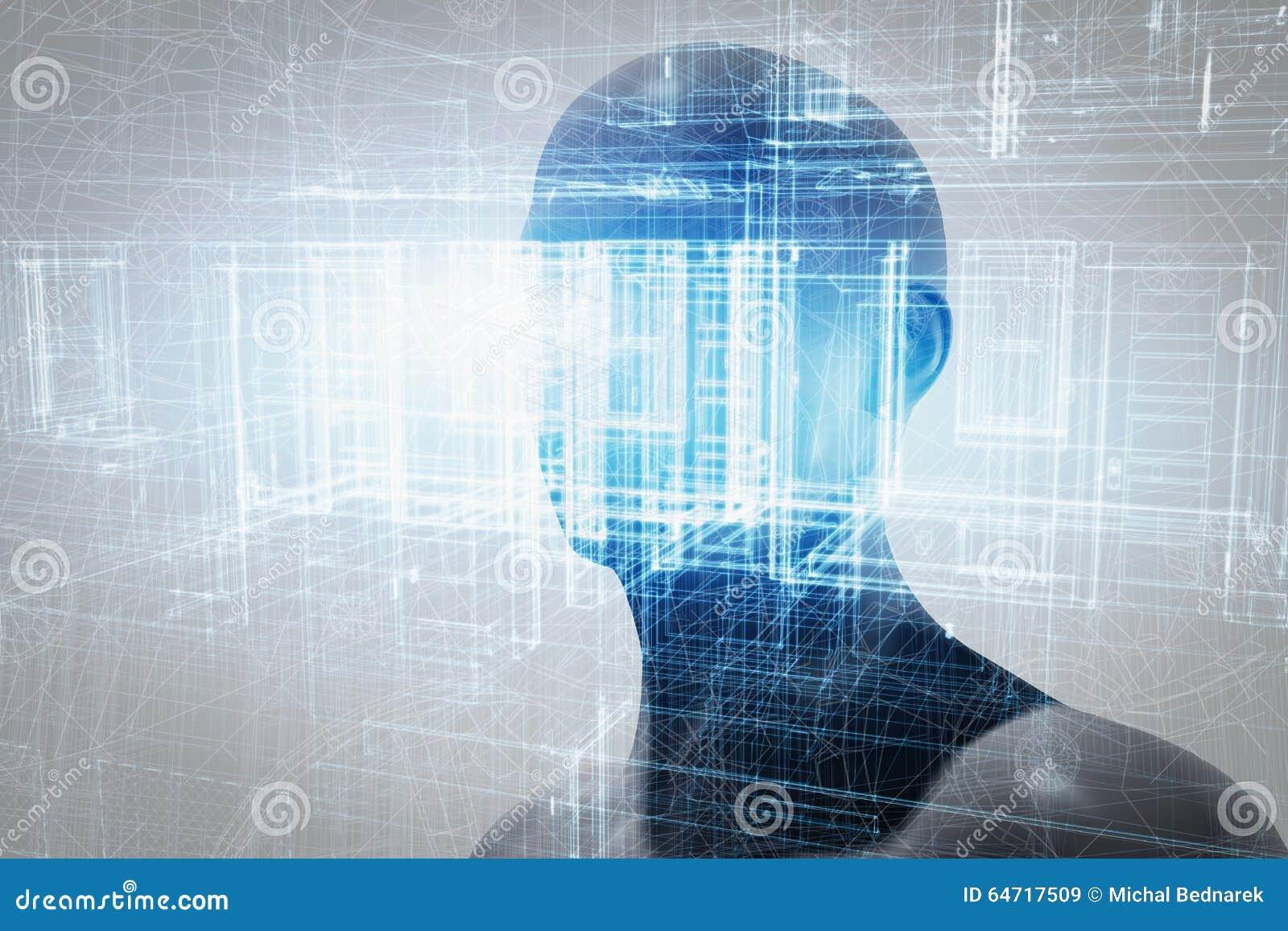 Projeção da realidade virtual Ciência futura com tecnologia moderna, inteligência artificial