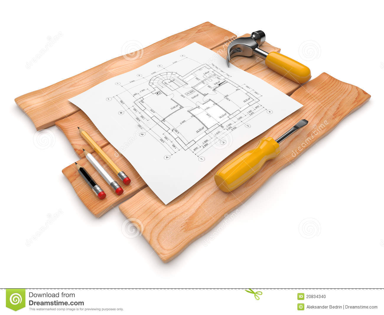 Project of construction 3d illustration on white stock photo image