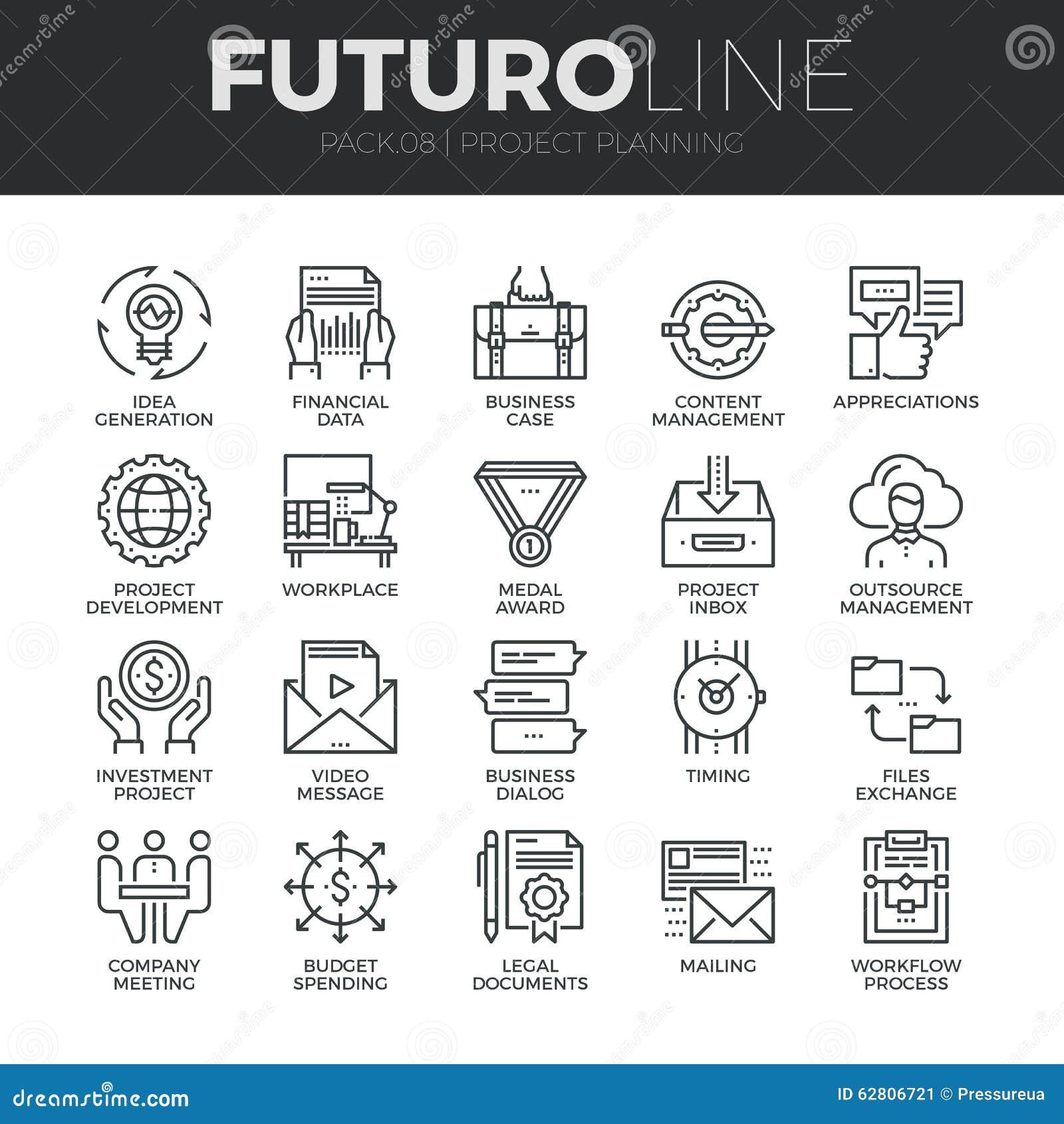 Project die Futuro-Geplaatste Lijnpictogrammen plannen
