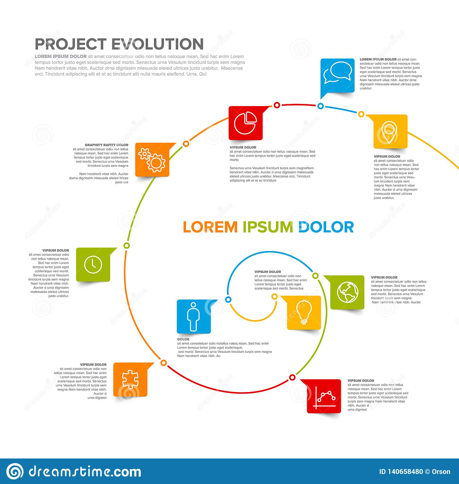 Project Evolution Timeline Template Stock Vector