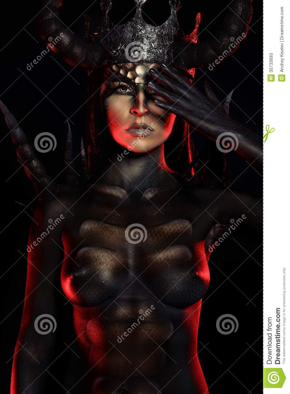 Beautiful and scary devil woman. Art project.