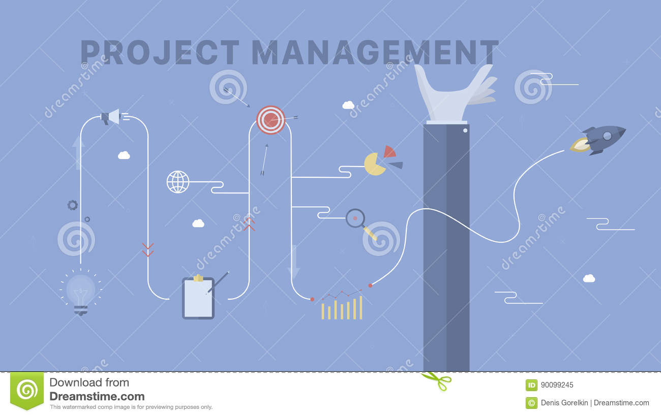 Project Management Background Stock Vector Illustration