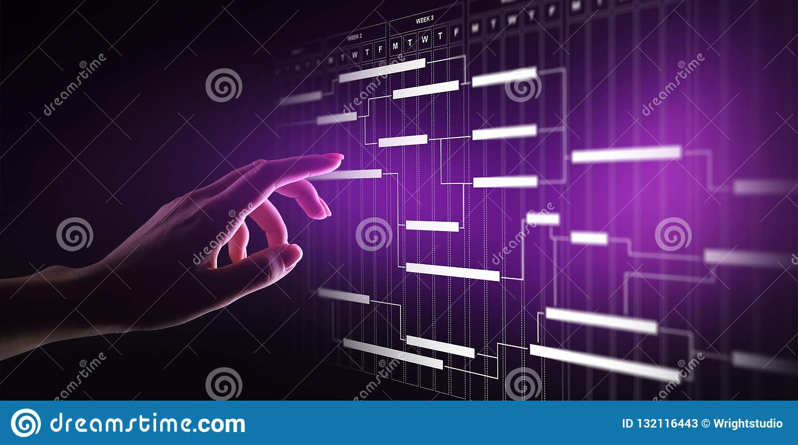 Project management diagram, time management, business and technology concept on virtual screen.
