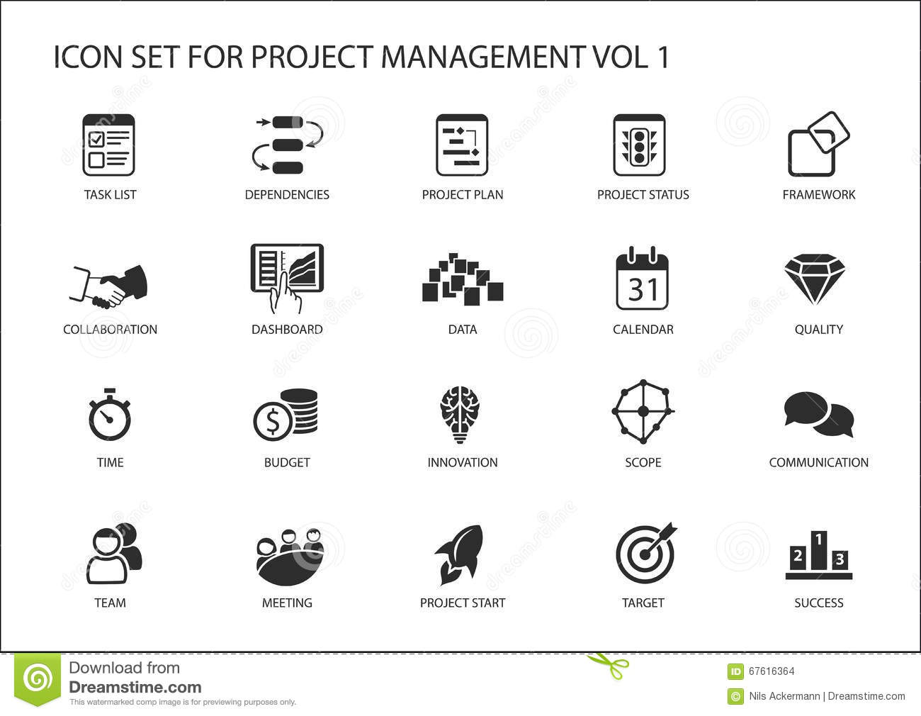 project management icon set various symbols for managing projects such as task list project. Black Bedroom Furniture Sets. Home Design Ideas