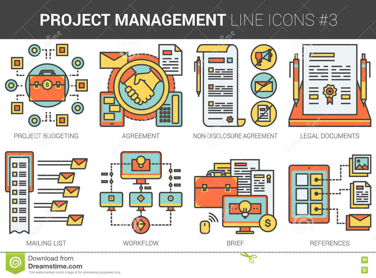 Line Drawing Website : Project management line icon set stock vector image