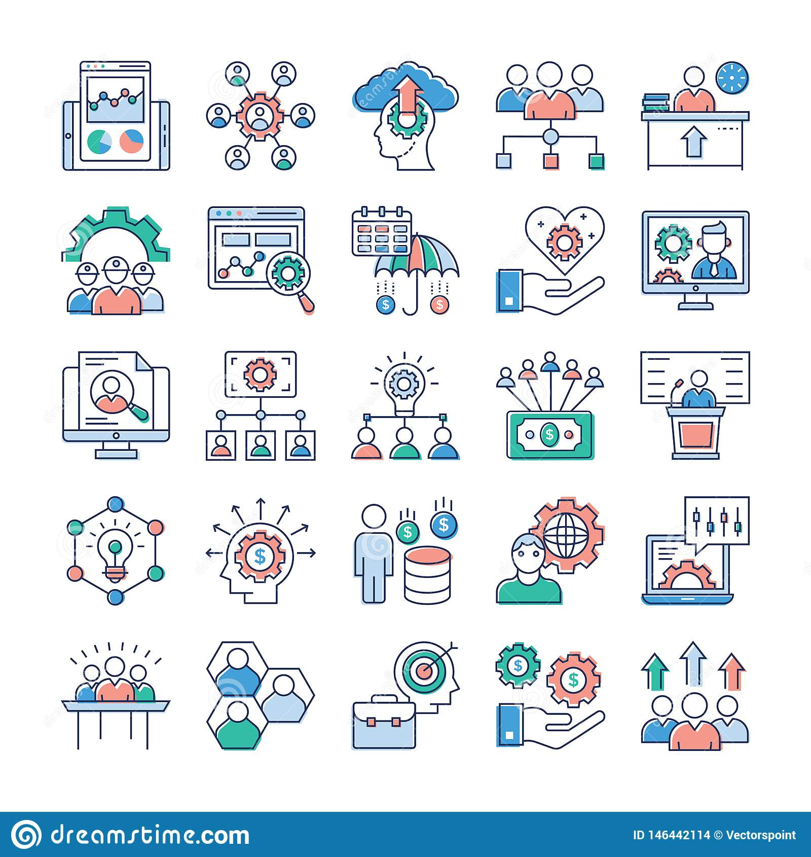 Project Management, Teamwork Flat Icons Set