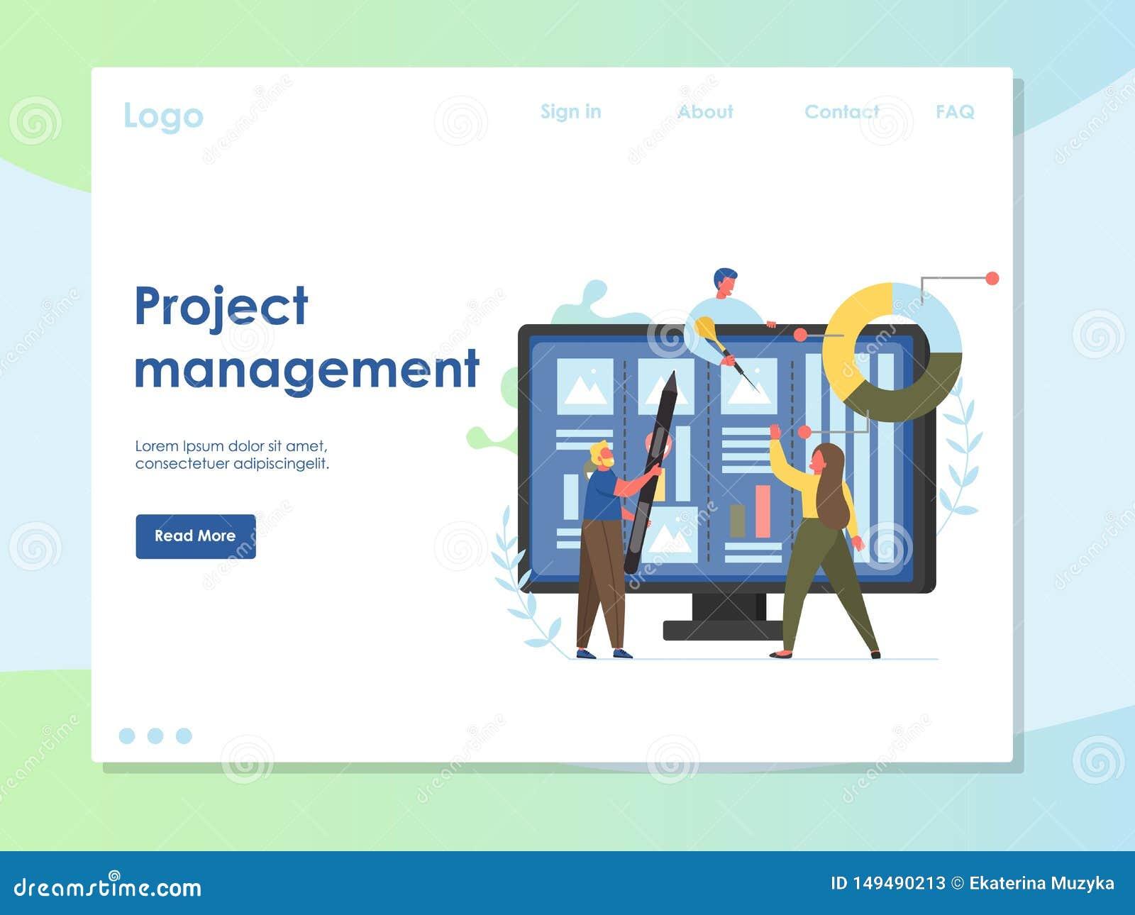 Project Management Vector Website Landing Page Design Template ...
