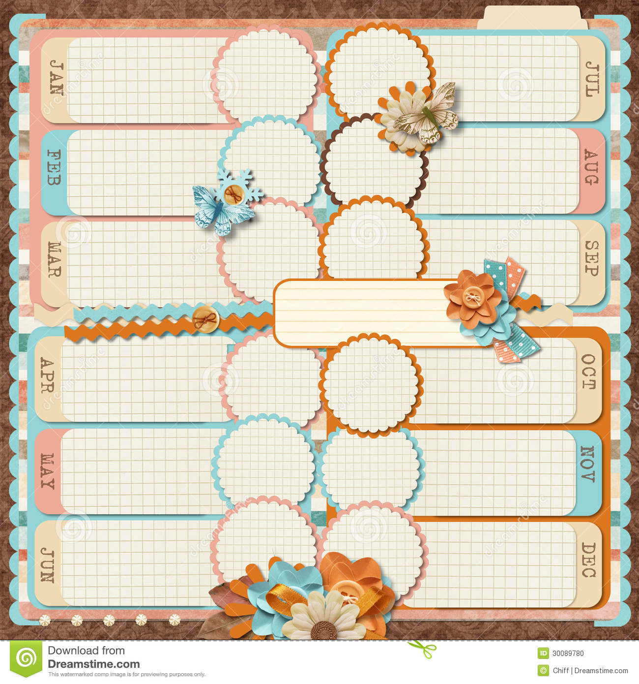 templates for scrapbooking to print - retro family album 12 months scrapbooking templates