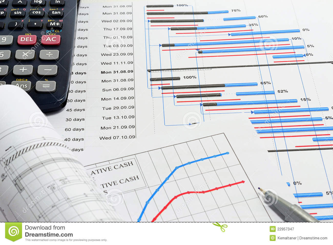 project planning and cash flow stock image