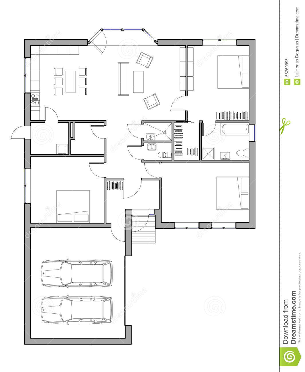 Project of the single family house stock illustration for Single family house plans